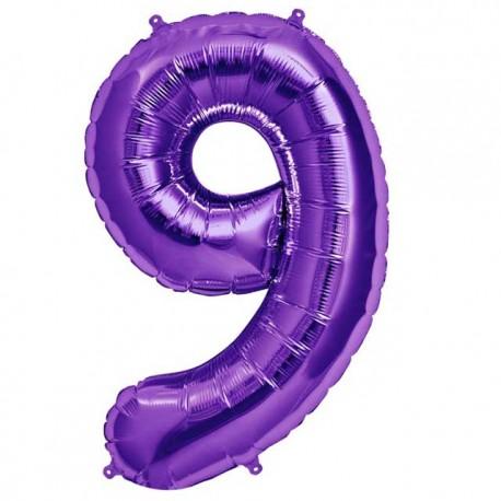 """Globos de Foil de 34"""" (86cm) número 9 Purpura"""