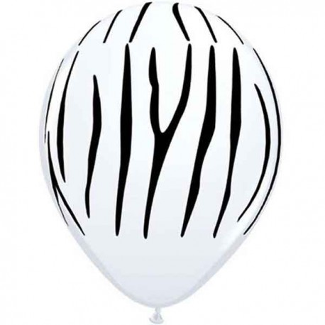 "Globos de 11"" Rayas Cebra Blanco Qualatex"