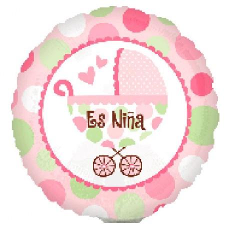 """Globos de foil Mini 9"""" (23Cm) Cochecito Es Niña"""