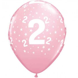 "Globos de 11"" Número 2 Rosa Qualatex"