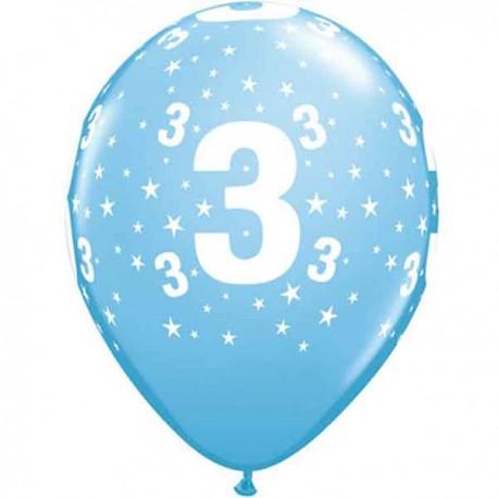 """Globos de 11"""" Número 3 Azul Claro Qualatex"""