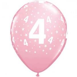 "Globos de 11"" Número 4 Rosa Qualatex"