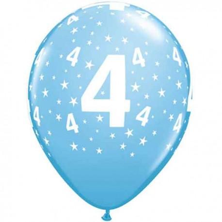 """Globos de 11"""" Número 4 Azul Claro Qualatex"""