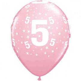 "Globos de 11"" Número 5 Rosa Qualatex"