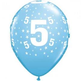 """Globos de 11"""" Número 5 Azul Claro Qualatex"""