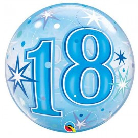 """Globos foil de 22"""" Bubbles 18 Azul Starbust"""