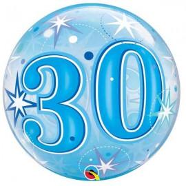 "Globos 22"" Bubbles 30 Azul Starbust"