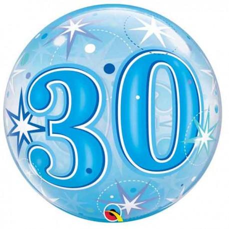 """Globos foil de 22"""" Bubbles 30 Azul Starbust"""