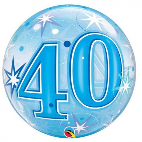 """Globos foil de 22"""" Bubbles 40 Azul Starbust"""