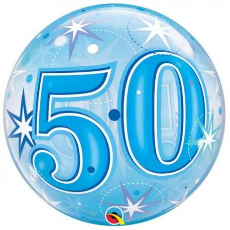 """Globos foil de 22"""" Bubbles 50 Azul Starbust"""