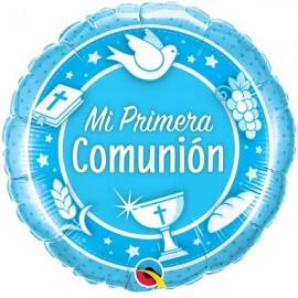 "Globos Foil 18"" (45Cm) Mi Primera Comunión AZUL Qualatex"
