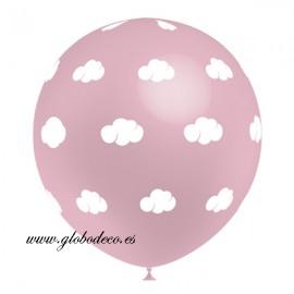 """Globos Rosa Baby de 12"""" Nubes Blancas Balloonia"""