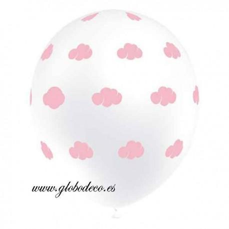 "Globos Blancos de 12"" Nubes Rosas Balloonia"