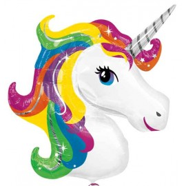 Globos de foil Supershape Unicornio Arcoiris