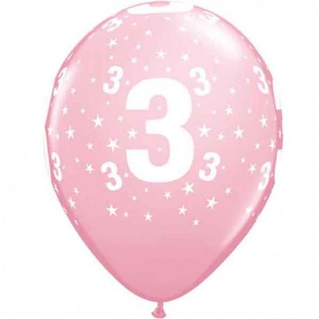"Globos de 11"" Número 3 Rosa Qualatex"