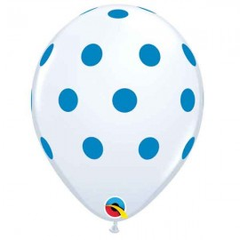 "Globos de 11"" Puntos Polka Azul Qualatex"