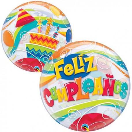 "Globos de foil de 22"" Bubbles Feliz Cumpleaños"