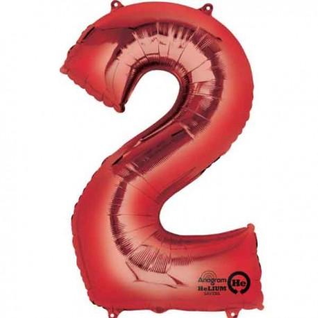 """Globos de Foil de 33"""" x 22"""" (83cm x 55cm) número 2 Rojo"""
