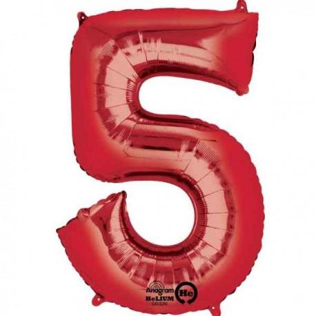 """Globos de Foil de 33"""" x 23"""" (83cm x 58cm) número 5 Rojo"""