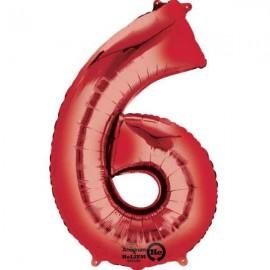 """Globos de Foil de 34"""" x 22"""" (86cm x 55cm) número 6 Rojo"""