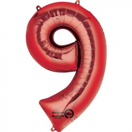 """Globos Foil de 34"""" x 22"""" (86cm x 55cm) número 9 Rojo"""