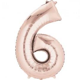 """Globos Foil de 34"""" x 22"""" (86cm x 55cm) número 6 Rosa Dorado"""