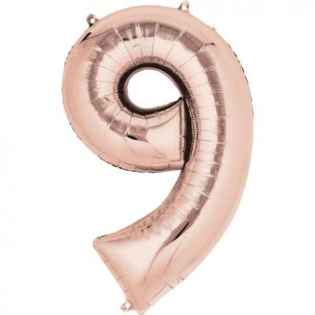 """Globos Foil de 34"""" x 22"""" (86cm x 55cm) número 9 Rosa Dorado"""