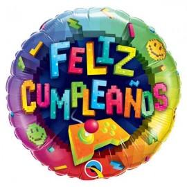 """Globos foil 18"""" (46Cm) Feliz Cumpleaños Videojuegos"""