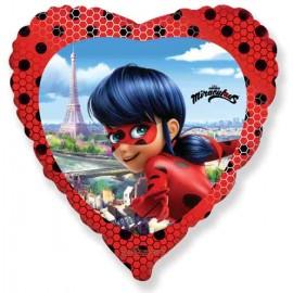 "Globos foil 18"" (45Cm) Corazon Ladybug"