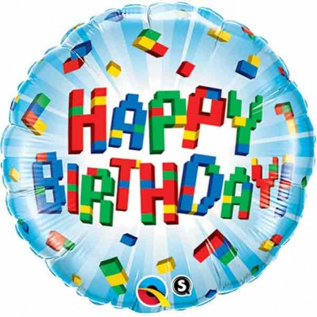 "Globos de foil 18"" (46Cm) Birthday Bloques"