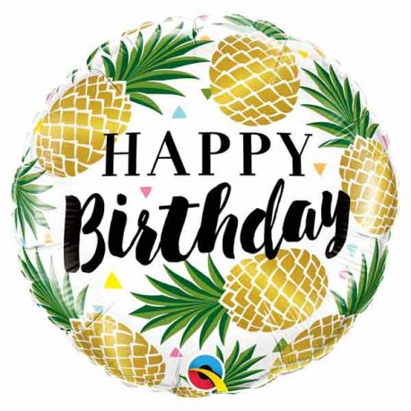"""Globos foil 18"""" (46Cm) Birthday Piñas Doradas"""