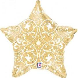 "Globos Foil Estrella 21"" (53Cm) Filigrana Oro Holografica"