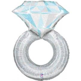 """Globos de foil de 38"""" (96Cm) Anillo Diamante Plata"""