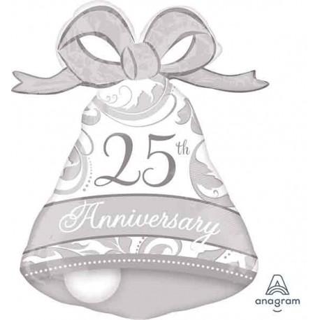 "Globos Foil de 27"" X 22"" Aniversario 25 Plata"