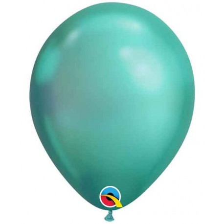 "Globos redondos 11"" Chrome Verde Qualatex"