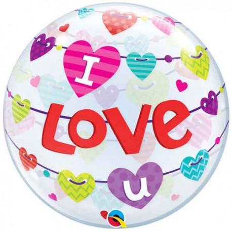 """Globos Foil de 22"""" Bubbles I Love U Corazones"""