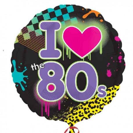 "Globos Foil 17"" (45Cm) I Love 80s"