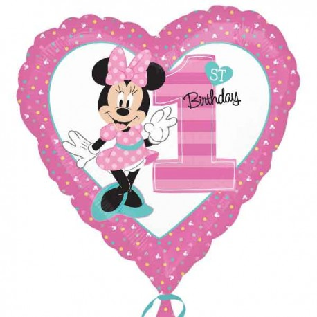"Globos foil 17"" (43Cm) Primer Cumpleaños Minnie"