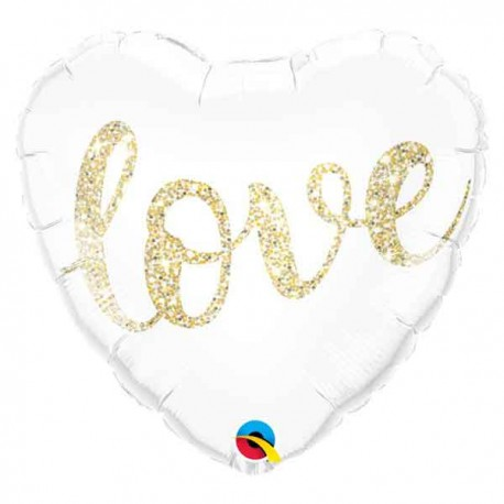 "Globos Foil de 18"" (45Cm) Love Glitter"