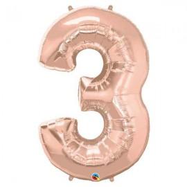 """Globos Foil de 44"""" (112cm) número TRES Rosa Dorado"""