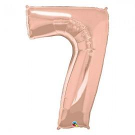 """Globos Foil de 34"""" (86cm) número SIETE Rosa Dorado"""