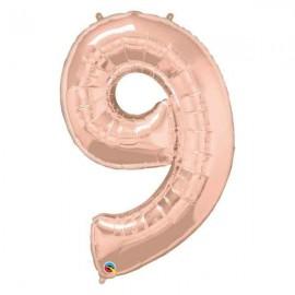 """Globos Foil de 34"""" (86cm) número NUEVE Rosa Dorado"""