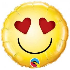 """Globos Foil de 9"""" (23Cm) Smiley Amor"""