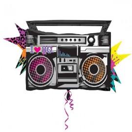 "Globos Foil supershape 35"" X 17"" Radiocasete 80s"