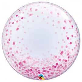"""Globos de 24"""" Bubbles Deco Confeti Rosa"""