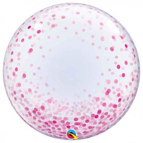 """Globos Foil de 24"""" Bubbles Deco Confeti Rosa"""