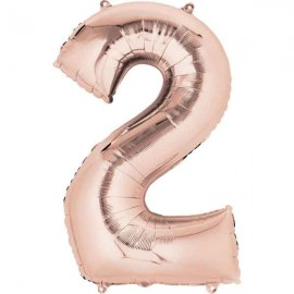 """Globos Foil 16"""" (40cm) Numero 2 Rosa Dorado"""