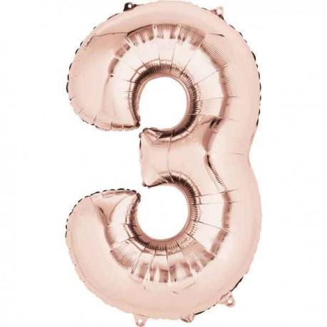 """Globos Foil 16"""" (40cm) Numero 3 Rosa Dorado"""