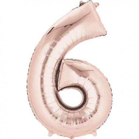 """Globos Foil 16"""" (40cm) Numero 6 Rosa Dorado"""