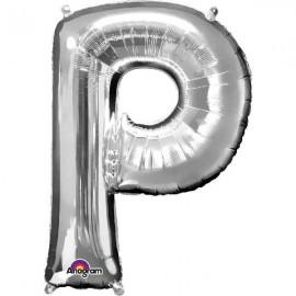 """Globos Foil de 32"""" (81cm) Letra P Plata Anagram"""